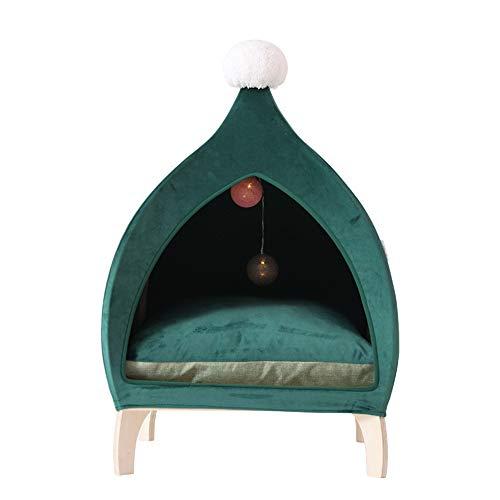 ELEAMO Semi-enclosed Cat Nest, Comfortable Pp Upholstered Warm Cat Villa, Durable Wooden Cat Tent, Hanging Led Spacious Pet Nest, Christmas Decoration Cat Bed, Green