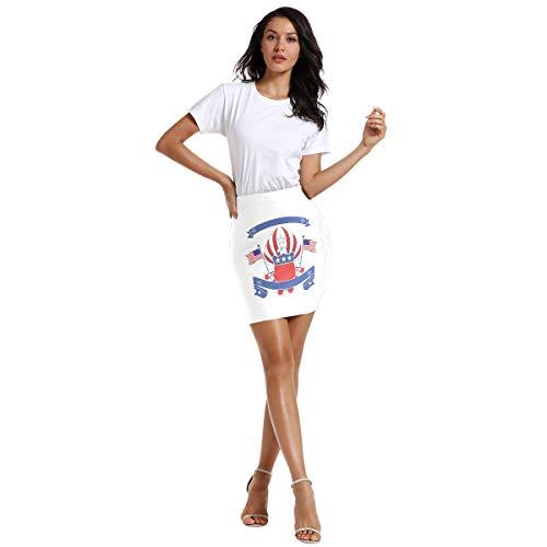 Falda elástica para mujer por encima de la rodilla, cintura elástica con insignia de la bandera del águila americana 1 48
