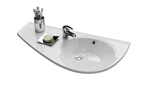 Praktisches Eckwaschbecken | Waschbecken zur Wandmontage mit Hahnloch und Überlauf | Hängewaschbecken | Waschtisch Avocado 850 x 450 Links | RAVAK