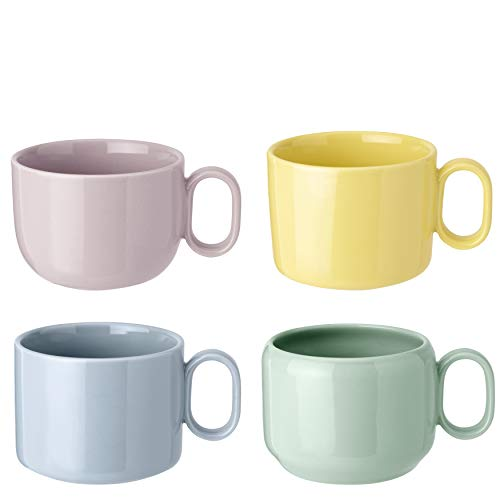 RIG-TIG MIX'N'Match Mugs - Juego de 4 tazas, color azul, amarillo, rosa y verde