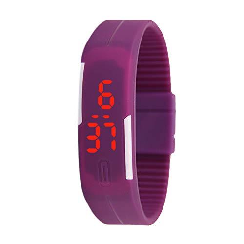 good01 - Orologio da Polso con Schermo Touch in Silicone, Mini Luminoso, elettronico, per Coppie, Idea Regalo, Purple