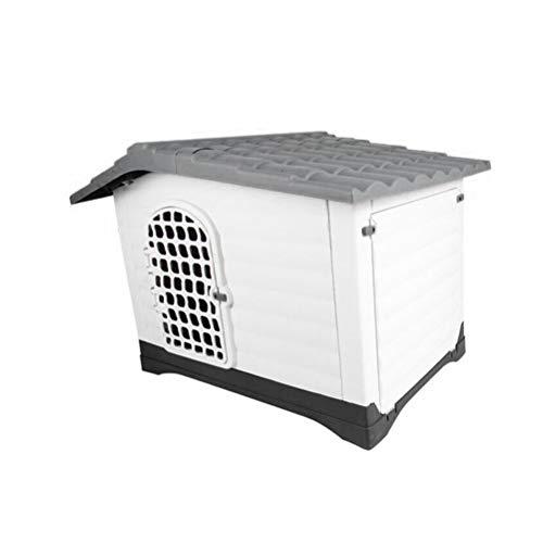 DIAOSI Kennel - Huisdier Wo Kennel Huisdier Kunststof Huis Kat Hond Wasbaar Hondenhok Outdoor Hond Huis Waterdicht (Grijs/Wit)