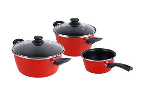 Magefesa Grana - Batería de Cocina 5 piezas. Material acero vitrificado exterior rojo. Antiadherente bicapa Reforzado. Apta para todo tipo de cocinas, especial inducción. 50% de ahorro energético.