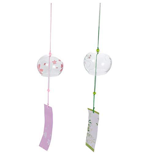 Garneck Japanische Windspiel Glocke Glas Geschenk zum Geburtstag Schlafzimmer Büro Haus Dekoration außen hängend Anhänger 2 Stück