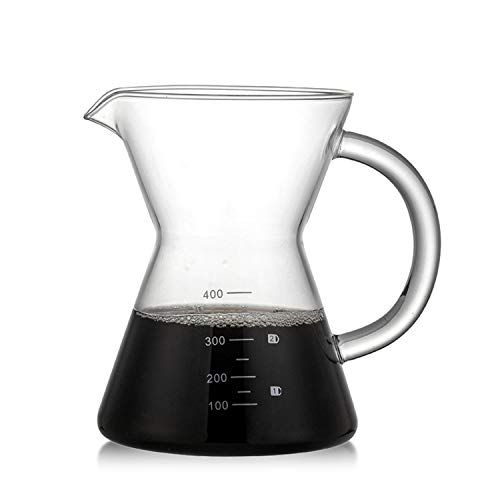 YXXHM- caraffa in Vetro, Hand-Washed Coffee condivisione Pot, caffettiera in Vetro borosilicato Vetro Pot