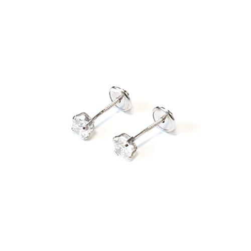 Monde Petit- Orecchini per neonata/bambina in argento con gancio con zircone da 4 mm, modello AG-1711/4