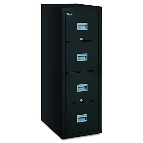 """FireKing Patriot 4P1825-CBL One-Hour Fireproof Vertical Filing Cabinet, 4 Drawers, Deep Letter or Legal Size, 18"""" W x 25"""" D, Black, Made in USA"""