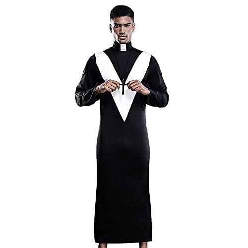 Z-DJJ Nuevo Traje De Monja para Hombre Y Collar con Colgante De Jesucristo, Traje De Fiesta para Hombre, Tnica Negra, Santo, Cardenal, Pastor, Disfraz De Cosplay, Traje De Halloween