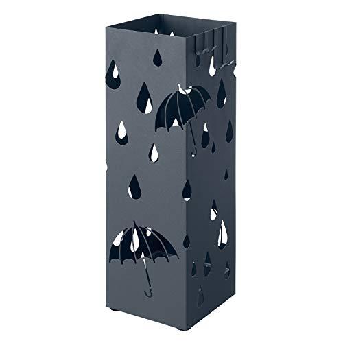 SONGMICS Paragüero de Metal, Soporte Cuadrado para Paraguas con Bandeja de Goteo y 4 Ganchos, 15,5 x 15,5 x 49 cm, Gris Antracita LUC049G01