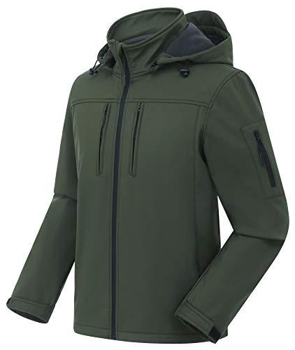 CREATMO US Men's Running Gear Tactical Concealed Hooded Softshell Fleece Military Jacket Coat Green XL