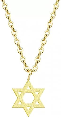 Aluyouqi Co.,ltd Collar de Moda Colgante Collar Joyas Colgante étnico judío Mujeres Hombres Acero Inoxidable Color Dorado Cadena Hexagrama Collared Mujeres Fiesta de cumpleaños