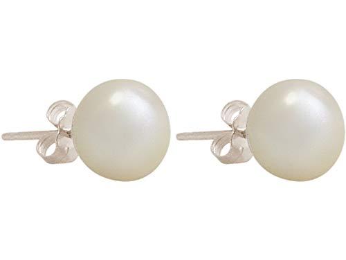 Gemshine Ohrringe mit 4 mm weißen Zuchtperlen in 925 Silber oder hochwertig vergoldet. Nachhaltiger, qualitätsvoller Schmuck Made in Germany, Metall Farbe:Silber