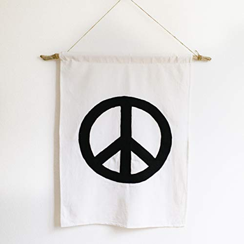 Boho-Wall-Decor - Handmade Peace Banner - 100% Cotton Canvas, Brings Vintage Hippie Tapestry Beach Style to any Home. Perfect for Room Decorations, Nursery Wall Art Hanging, or as a Bohemian Gift for all Occasions