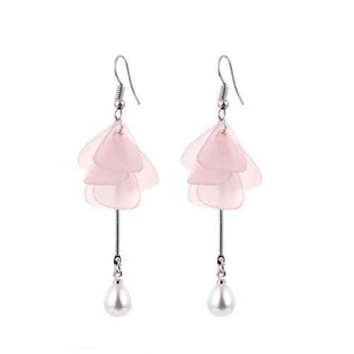 Erin Earring Pendientes Colgantes De Flores Brillantes Joyas De Moda para Mujer Pendientes Largos De Perlas De Flores Rosadas Lindas