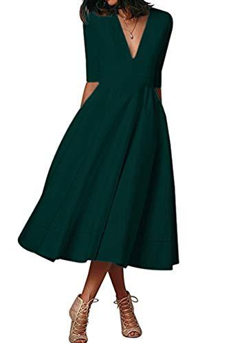 YMING Lady A-Line Bankettkleid mit Taschen Halbarmkleid Abendkleid Slim Fit Kleid Midikleid Grün XXL