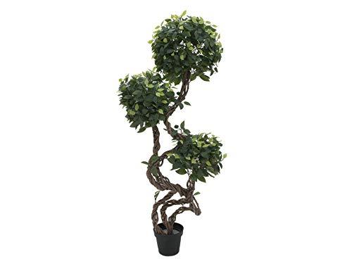 artplants.de Set 'Árbol ficus Artificial + Spray de protección UV' - Ficus sintético MIYU, Troncos Naturales, Verde, 160cm