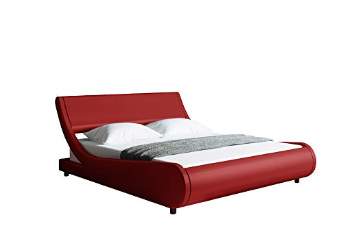 Modern Contemporary Wave-Like Curve Upholstered Platform Bed with Headboard - Faux Leather Upholstered Modern Bed Frame with Headboard - Low Profile Curved Bed Frame (Full, Red PU)
