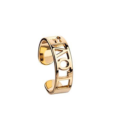 SIX Breiter offener goldfarbener Metallring mit ausgeschnittenem Schriftzug Love - Größe: M (528-901)
