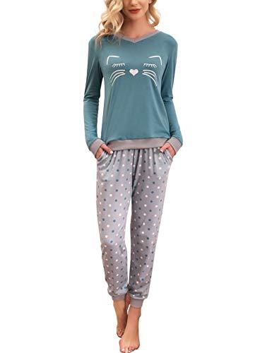 Enjoyoself Schlafanzug Damen Lang Baumwolle Pyjama Kontrastfarben V Ausschnitt Nachtwäsche Lustig Zweiteiler Gepunktete Pyjamahose