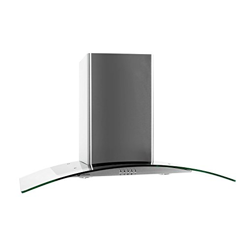 Klarstein GL90WS - afzuigkap, afzuigkap, wandafzuigkap, afvoerlucht/recirculatielucht, 3 niveaus, max.Luchtafvoer: 385 m³ / h, roestvrij staal, glas, LED, luchtafvoerslang, zilver