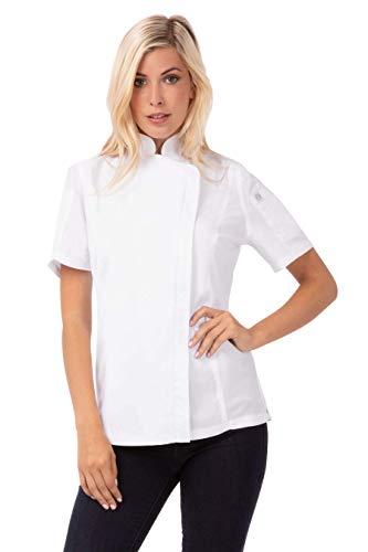 Chef obras bb052-xxl mujeres de Springfield con cremallera chaqueta de cocinero, color blanco, tamaño 2X L, Negro