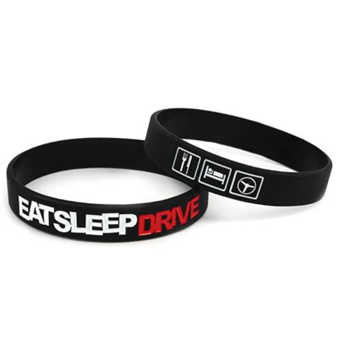 LlaverosMotor Pulsera de Silicona Eat Sleep Drive para Aficionados a los Coches (Negro)
