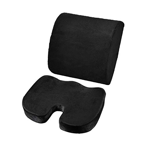 2PCS/Comfortable Memory Foam Orthopedic Seat Cushion Waist Back Support Set For Home Office Health Care Cushion Seat Cushion (Color : Black)