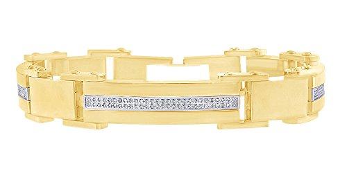 Bracciale da uomo in argento Sterling placcato oro 18 ct con diamanti naturali rotondi (2,00 cttw) e argento placcato oro giallo 18 ct, colore: Giallo, cod. MNo-UK-CMB16937-YG-7.5