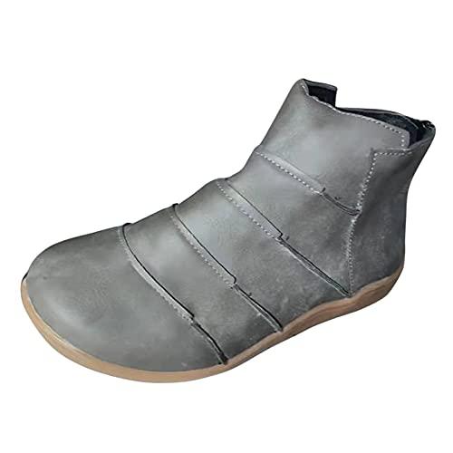 Vexiangni Damen Flache Retro-Stiefel mit rundem Zeh-Reißverschluss für Damen in Übergröße Stiefeletten Biker Boots Mid-Calf Leder Stiefeletten Lederstiefel Ritterstiefel Kurze Stiefel Schuhe