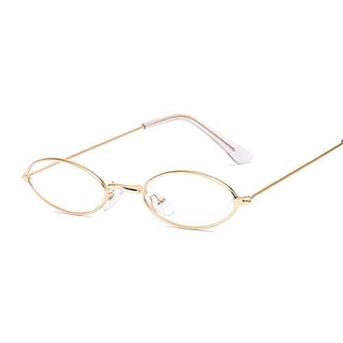 AleXanDer1 Gafas de Sol Moda Rosa Oval Gafas de Sol Mujeres Vintage pequeño Marco de Las señoras Gafas de Sol (Lenses Color : GoldTrans)