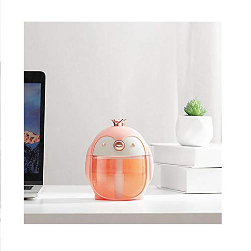 YOUMETO 300ml Portable USB Humidifiers Sprаy, Penguin Design Ultrasonic Mini Cool Mist Baby Humidifier Diffuser, Night Light Air Purifiеr Humidifiers for Bedroom Office Large Room Desktop (Pink)