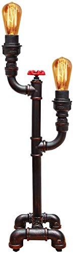 Vintage industriële waterpijp tafellamp ventiel kraan dubbele Uplighter metaal rustieke retro antieke bureaulamp T1004