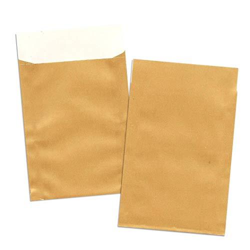 aPlus-Papiertueten Geschenkflachbeutel Papier-Flachbeutel Gold Weihnachten Advent Geschenktaschen (400, 7x9+2 cm)