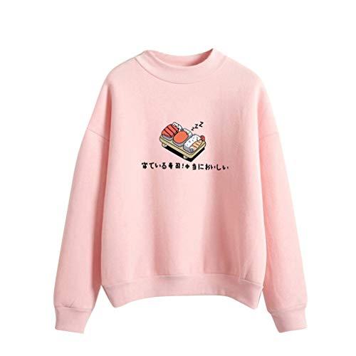 iHENGH Damen Top Bluse Lässig Mode T-Shirt Frühling Sommer Frauen Bequem Blusen Langarm Lose Sushi Gedruckt Sweatshirt Tops