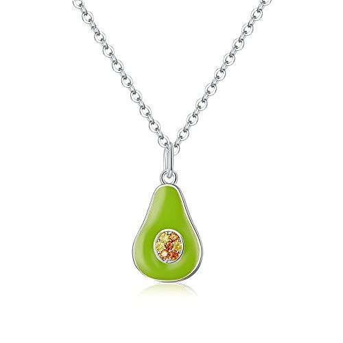 VAWAA Collar de Aguacate de Plata 925 Collares de Frutas de Aceite...