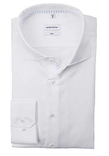 Seidensticker Herren Slim Langarm Twill Hemd, Weiß (Weiß 01), (Herstellergröße: 38)