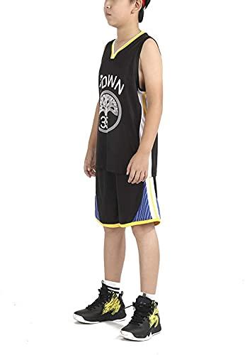 Jersey De Baloncesto De Niño Y Niña - 30#, 35# Churn's Baloncesto Camisa Camisa Camisa Shorts De Verano Jersey, Negro, 35-3XS