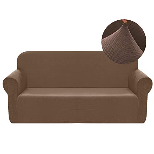 Chelzen Stretch Sofa Covers 1-Piece Polyester Spandex Fabric Living Room Couch Slipcovers (Large, Brown)