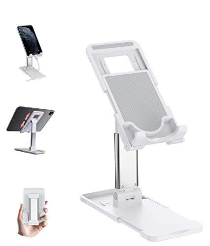 Krsende [Upgraded] Handy&Tablet Ständer, Einstellbarer Höhenwinkel Faltbarer Halterung aus verstellbar, Anti-Fall eBook-Reader Docks 4-13 Zoll(Weiß)