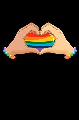Notizbuch: LGBT Regenbogen Fahne Hände Herz bunte Liebe Notizbuch DIN A5 120 Seiten für Notizen Zeichnungen Formeln | Organizer Schreibheft Planer Tagebuch