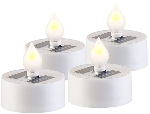 Lunartec Solar Kerze: 4er-Set Solar-LED-Teelichter mit Dämmerungs-Sensor, IP44, weiß (Solar Teelicht wasserdicht)
