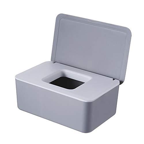 Delisouls Dispensador de toallitas húmedas, papel de seda seco y húmedo, funda protectora de tela sin polvo, caja de almacenamiento con tapa para el hogar (gris y blanco)