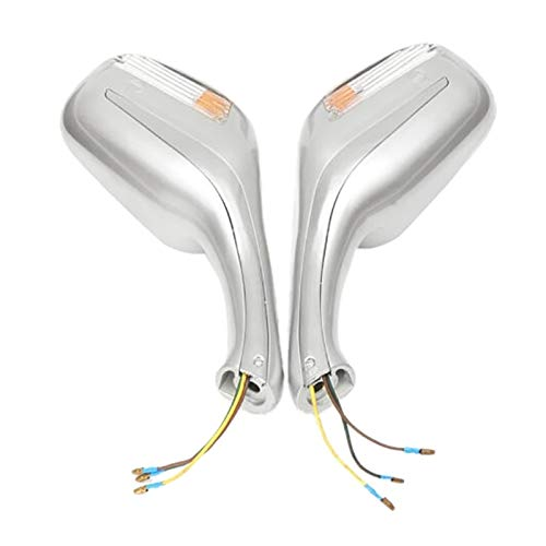 shiyi 8mm Motorcycle Scooter Mopeds Vista Posterior Espejo Light Fit para GY6 50cc 120cc 250cc (Color : Silver)