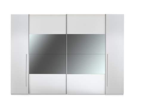 Stella Trading Mega Kleiderschrank, Spanplatte, Weiß/Weiß + Spiegel, B/H/T: ca. 312/226 / 60,5 cm