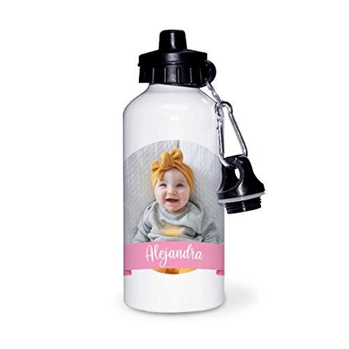 Kadoo Regalos Botella de Aluminio Personalizada Infantil con Foto Y Lazo (600ml)