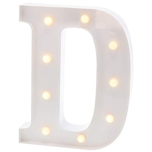 """Barnyard Designs Metal Marquee Letter D Light Up Wall Initial Wedding, Bar, Home and Nursery Letter Decoration 12"""" (White)"""