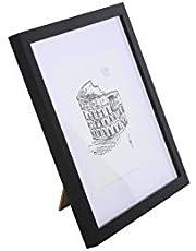 Classic by Casa Chic - Vierkante, massief houten lijst - 30x30 cm met passe-partout voor 25x25 cm - gehard glas - zwart