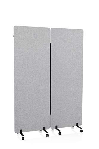 hjh OFFICE Mobile Akustik Trennwand 2er Set 177 x 60 cm FLEXMIUT Stoff Hellgrau Raumteiler mit Rollen & Gleiter 891001