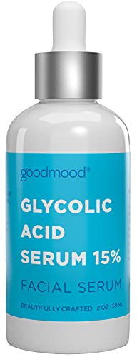 GoodMood Glycolic Acid/AHA Serum 15% - Glycolic Acid Peel, Brightening Serum, Rejuvenating Serum, Reduce Acne and Minimize Pores, Fine Lines and Wrinkles Treatment, 2oz