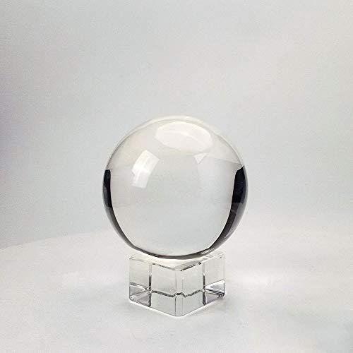 CROSYO 3 unids 80 mm Bola de Cristal Transparente Decorativo K9 Esfera de Mirada de Vidrio con Stand de Cristal Libre Figurine Fengshui Tabla Decoración del hogar (Color : Claro, tamaño : 80mm)